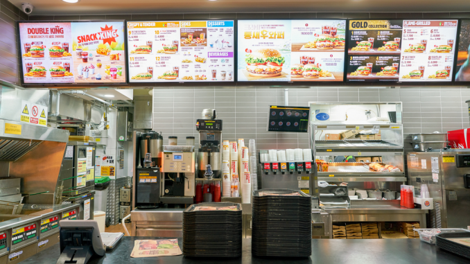 Image of a Fast Food Joint which shows some of the interiors.